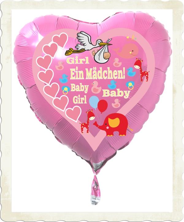 luftballon zur geburt eines m dchens baby girl mit. Black Bedroom Furniture Sets. Home Design Ideas