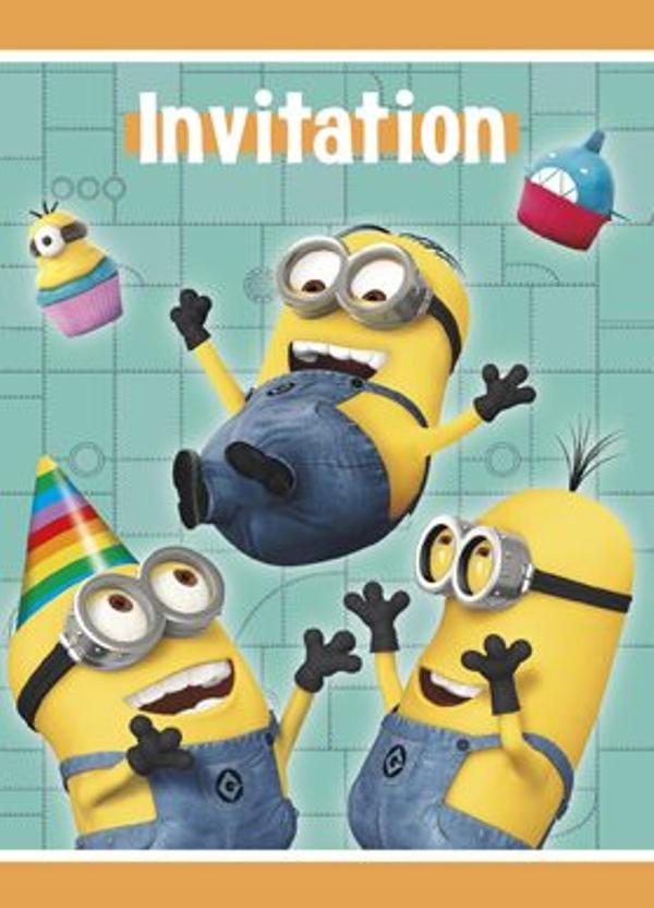 Einladungskarten Mit Umschlag, Minions, 8 Stück