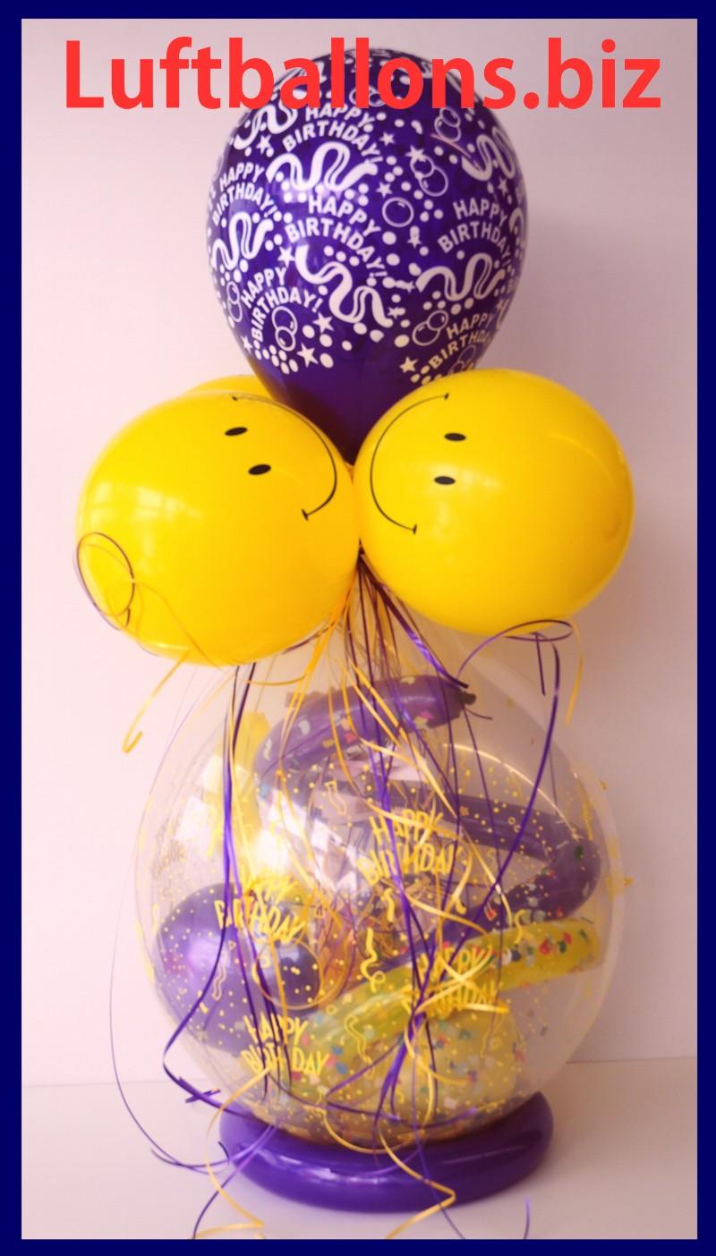 geschenkballon luftballon zum verpacken von geschenken happy birthday smiley lu happy. Black Bedroom Furniture Sets. Home Design Ideas