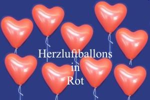 Herzballons 30cm Durchmesser Rot Weiß Helium Ballons Latexballons