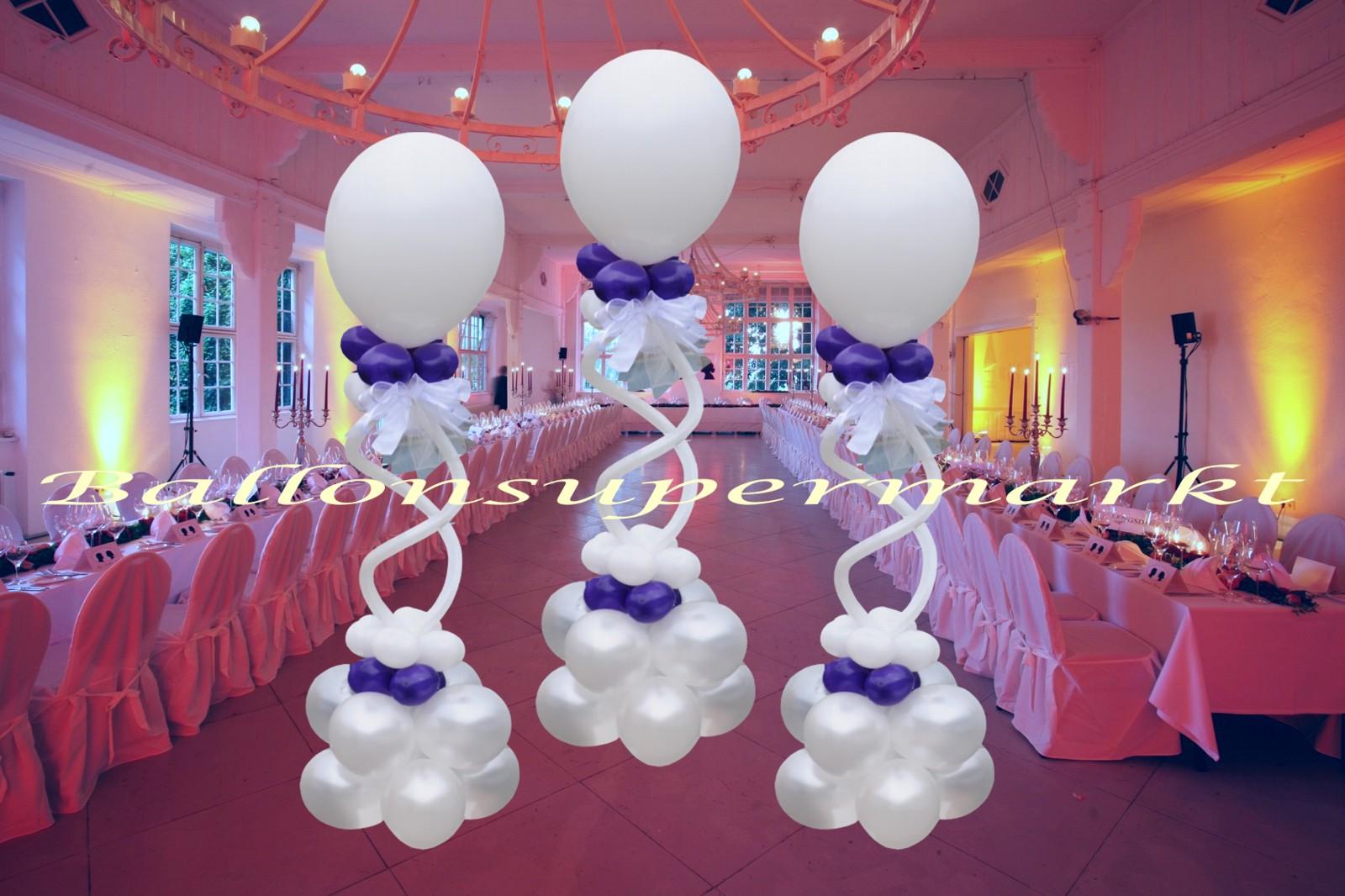 Romantische ballondekoration hochzeit wei lila 3 st ck for Dekoration mit luftballons