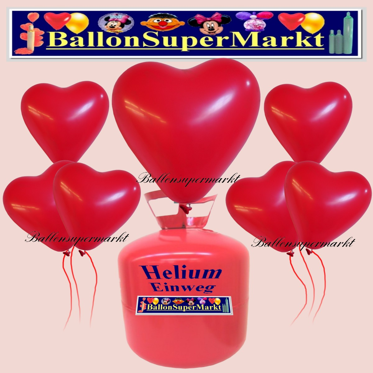 luftballons helium einweg set herzluftballons rot 50. Black Bedroom Furniture Sets. Home Design Ideas