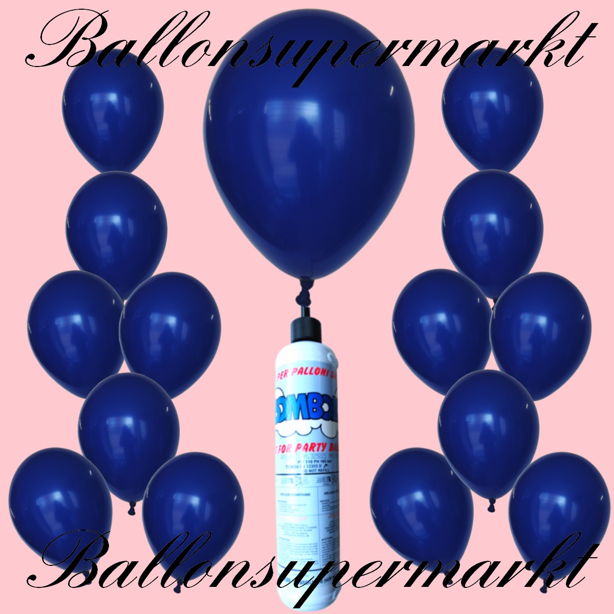 luftballons helium set miniflasche latex luftballons in marineblau lu luftballons helium mini. Black Bedroom Furniture Sets. Home Design Ideas