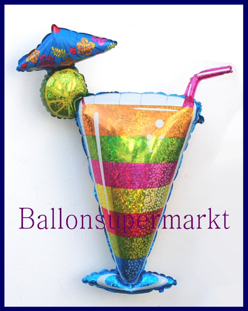 Tropical cocktail glas deko luftballon aus folie mit for Deko aus glas