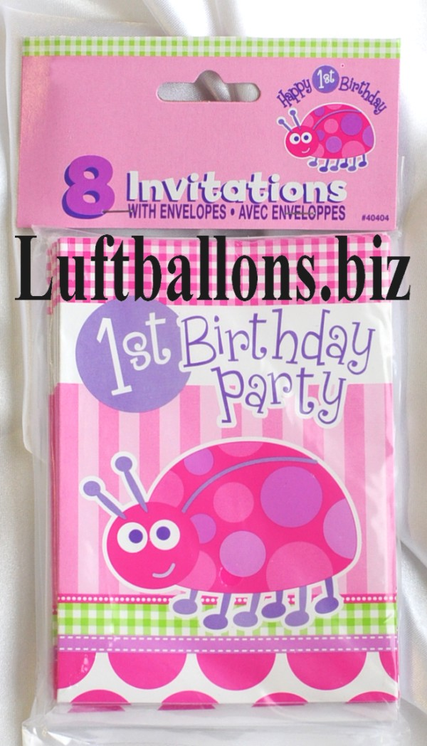 partydekoration zum 1 geburtstag einladungskarten marienk fer 1st birthday 8 st ck lu. Black Bedroom Furniture Sets. Home Design Ideas