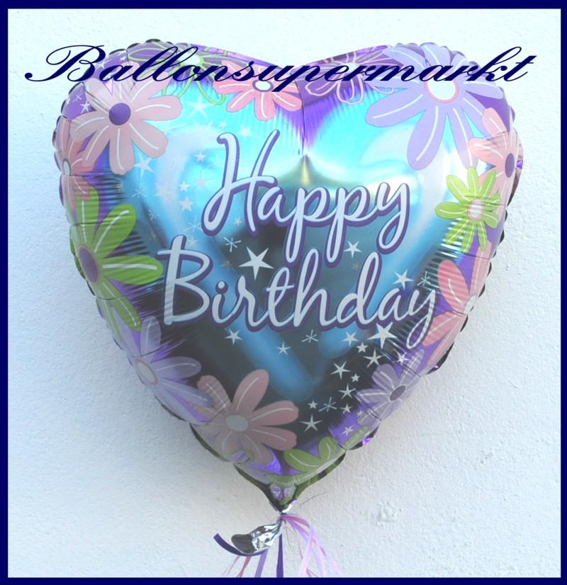 Happy birthday blumen folien herzluftballon zum for Dekoration mit luftballons
