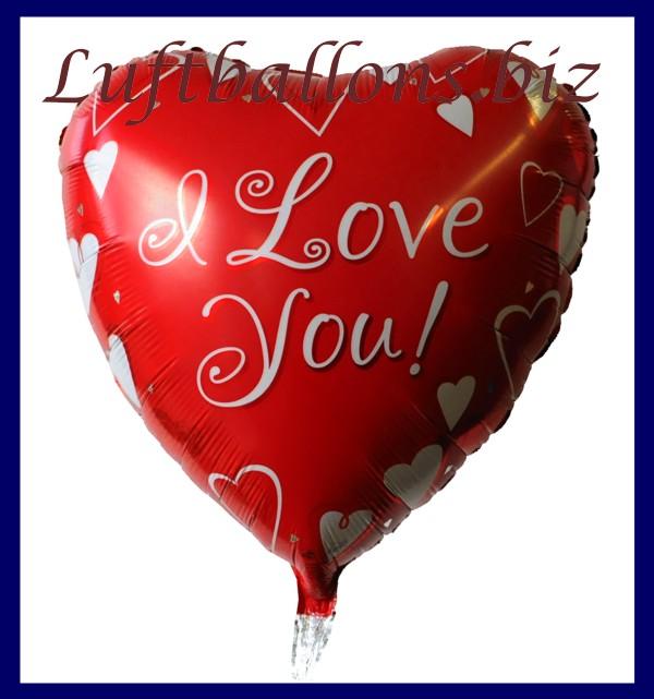 luftballon aus folie liebe herzluftballon i love you roter ballon mit wei en herzen. Black Bedroom Furniture Sets. Home Design Ideas