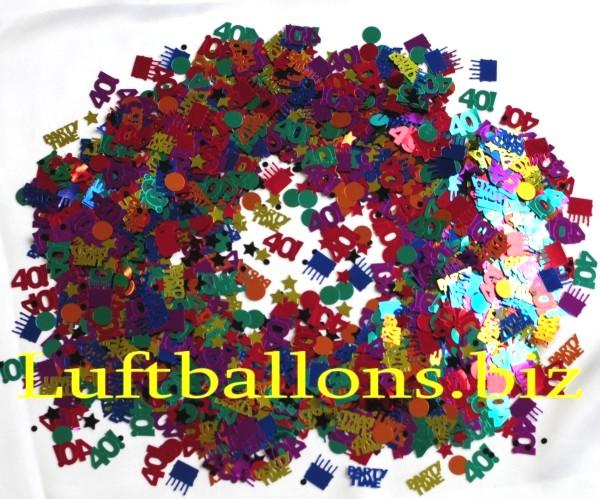 tischdekoration geburtstag konfetti zahl 40 bunt. Black Bedroom Furniture Sets. Home Design Ideas