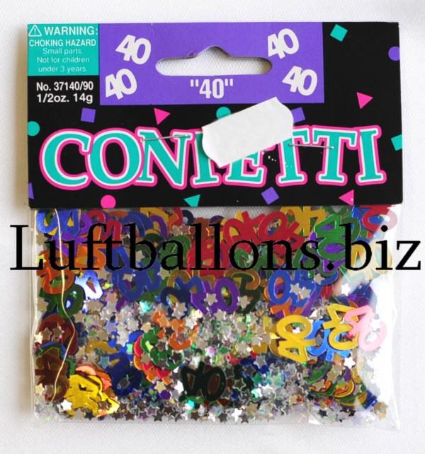 tischdekoration geburtstag konfetti zahl 40 bunt lu. Black Bedroom Furniture Sets. Home Design Ideas