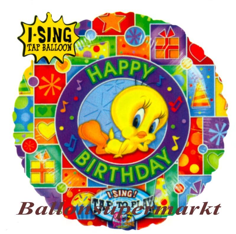 musikballon luftballon mit musikmodul tweety happy birthday lu musikballon luftballon. Black Bedroom Furniture Sets. Home Design Ideas