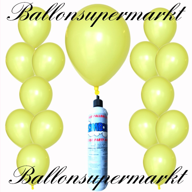 luftballons helium set miniflasche latex luftballons in zitronengelb lu luftballons helium. Black Bedroom Furniture Sets. Home Design Ideas
