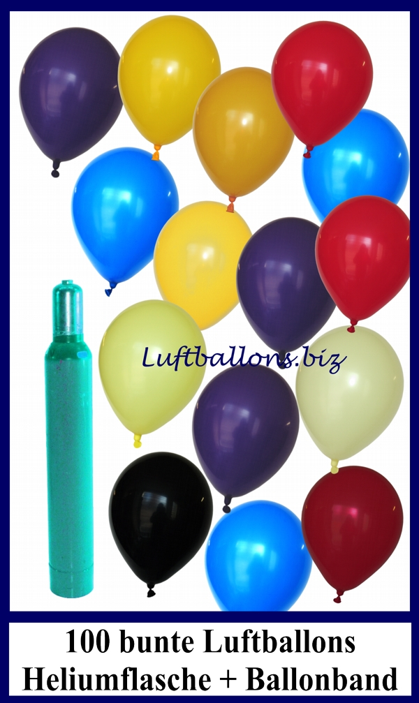 luftballons helium set 100 bunte latex luftballons mit ballongas lu helium luftballons set 100. Black Bedroom Furniture Sets. Home Design Ideas