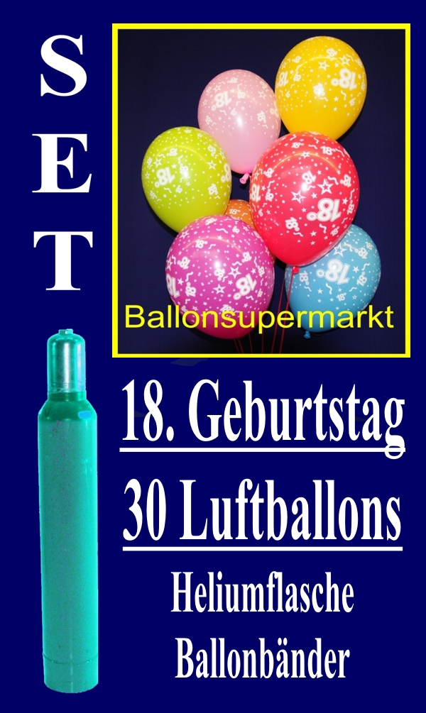 luftballons helium set zum 18 geburtstag 30 latex luftballons mit der zahl 18 lu helium. Black Bedroom Furniture Sets. Home Design Ideas