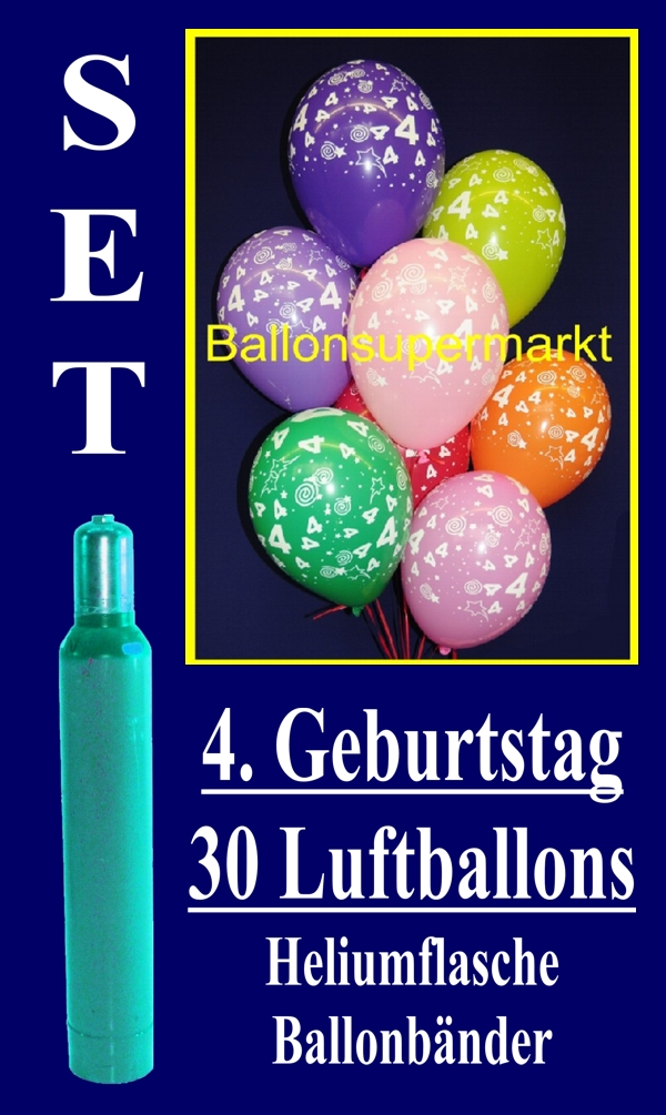luftballons helium set zum 4 geburtstag 30 latex luftballons mit der zahl 4 lu helium. Black Bedroom Furniture Sets. Home Design Ideas