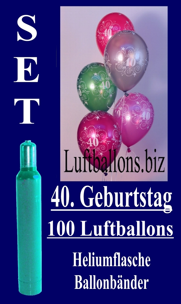 luftballons helium set zum 40 geburtstag 100 latex luftballons mit der zahl 40 lu helium. Black Bedroom Furniture Sets. Home Design Ideas