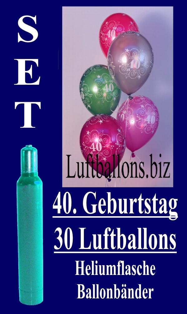 luftballons helium set zum 40 geburtstag 30 latex luftballons mit der zahl 40 lu helium. Black Bedroom Furniture Sets. Home Design Ideas