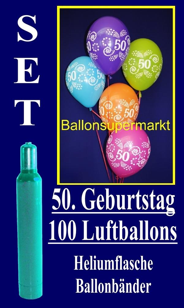 luftballons helium set zum 50 geburtstag 100 latex luftballons mit der zahl 50 lu helium. Black Bedroom Furniture Sets. Home Design Ideas