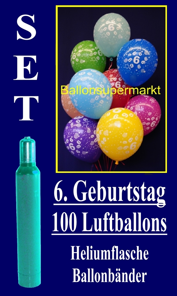 luftballons helium set zum 6 geburtstag 100 latex luftballons mit der zahl 6 lu helium. Black Bedroom Furniture Sets. Home Design Ideas