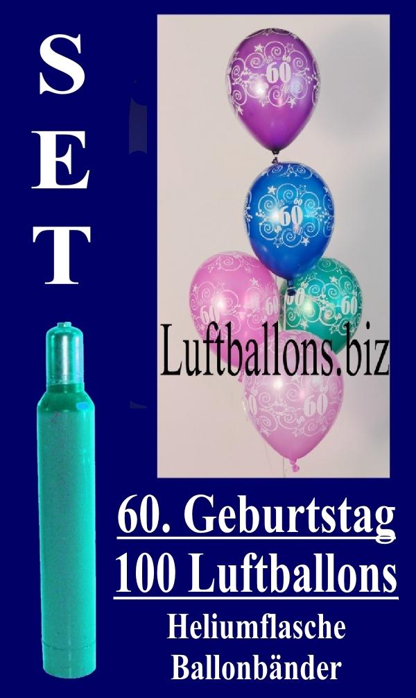 Luftballons Helium Set Zum 60. Geburtstag, 100 Latex Luftballons Mit Der  Zahl 60