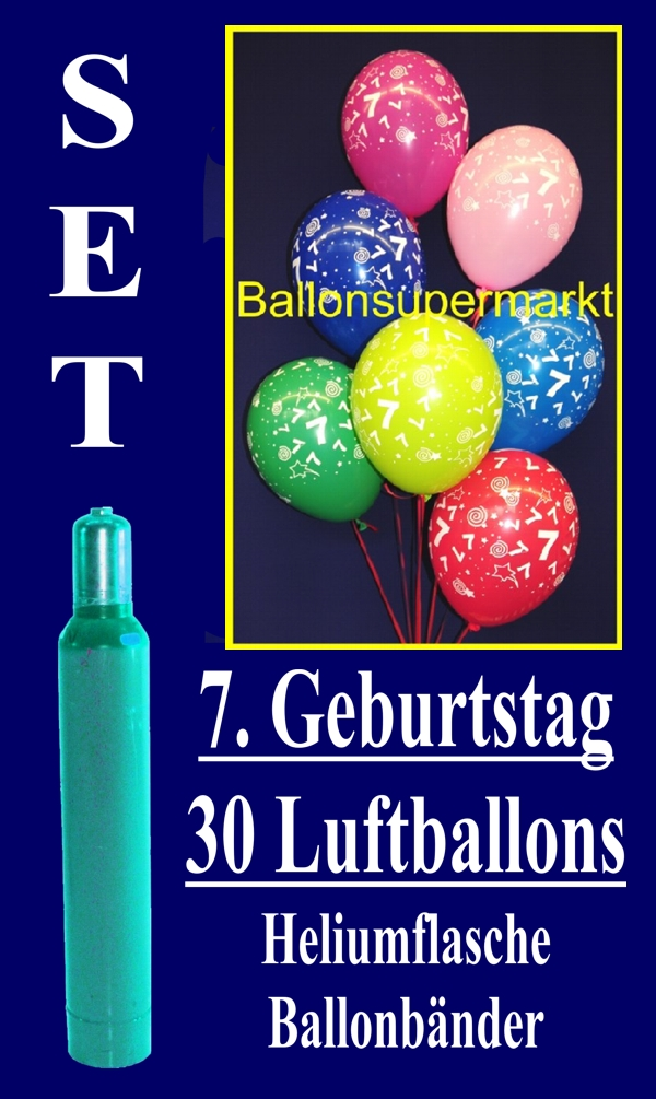 luftballons helium set zum 7 geburtstag 30 latex luftballons mit der zahl 7 lu helium. Black Bedroom Furniture Sets. Home Design Ideas
