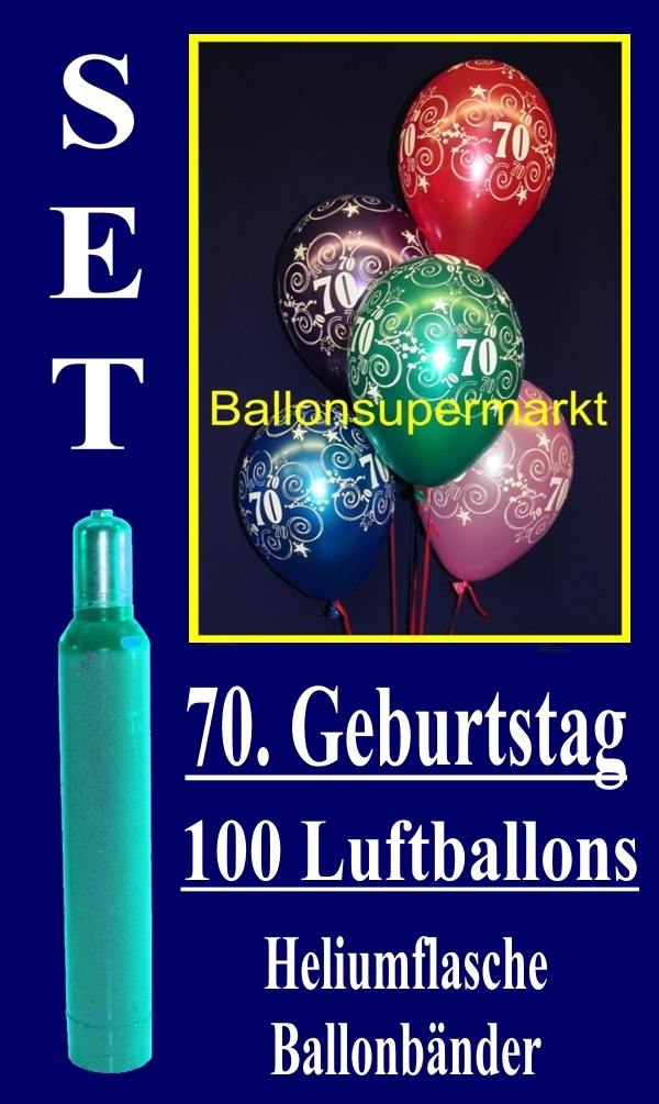 luftballons helium set zum 70 geburtstag 100 latex luftballons mit der zahl 70 lu helium. Black Bedroom Furniture Sets. Home Design Ideas