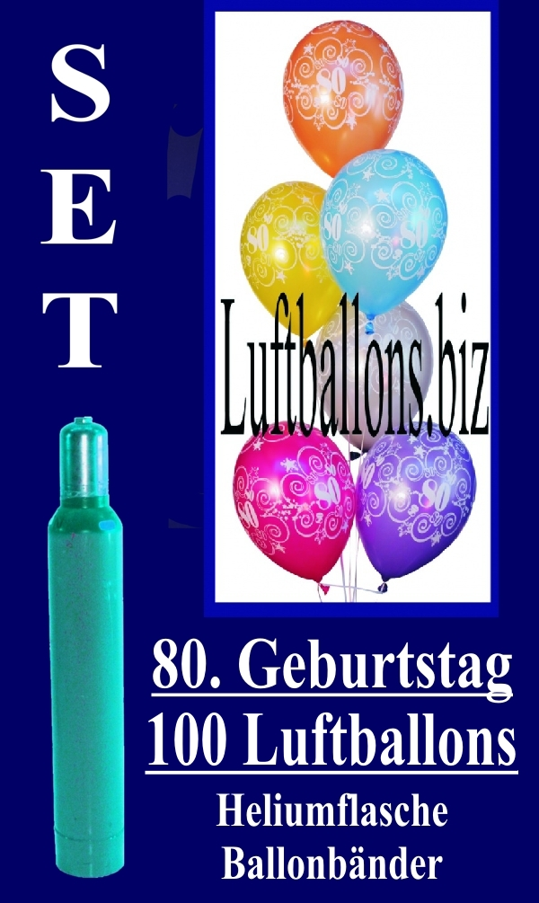 Luftballons Helium Set Zum 80 Geburtstag 100 Latex Luftballons Mit
