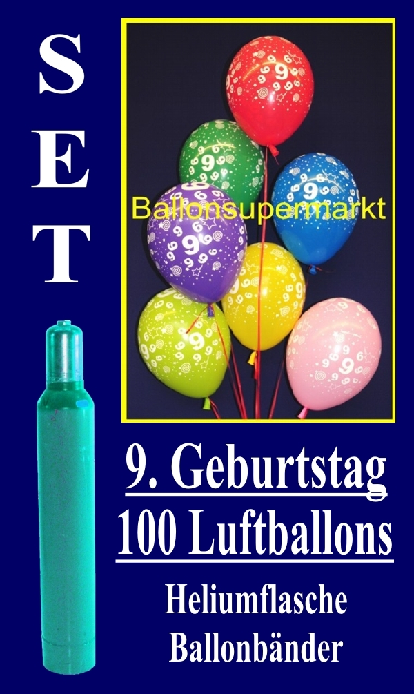 luftballons helium set zum 9 geburtstag 100 latex luftballons mit der zahl 9 lu helium. Black Bedroom Furniture Sets. Home Design Ideas