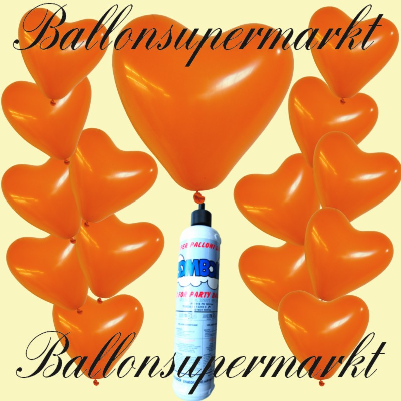 luftballons helium set miniflasche herzluftballons in orange lu luftballons helium mini set. Black Bedroom Furniture Sets. Home Design Ideas