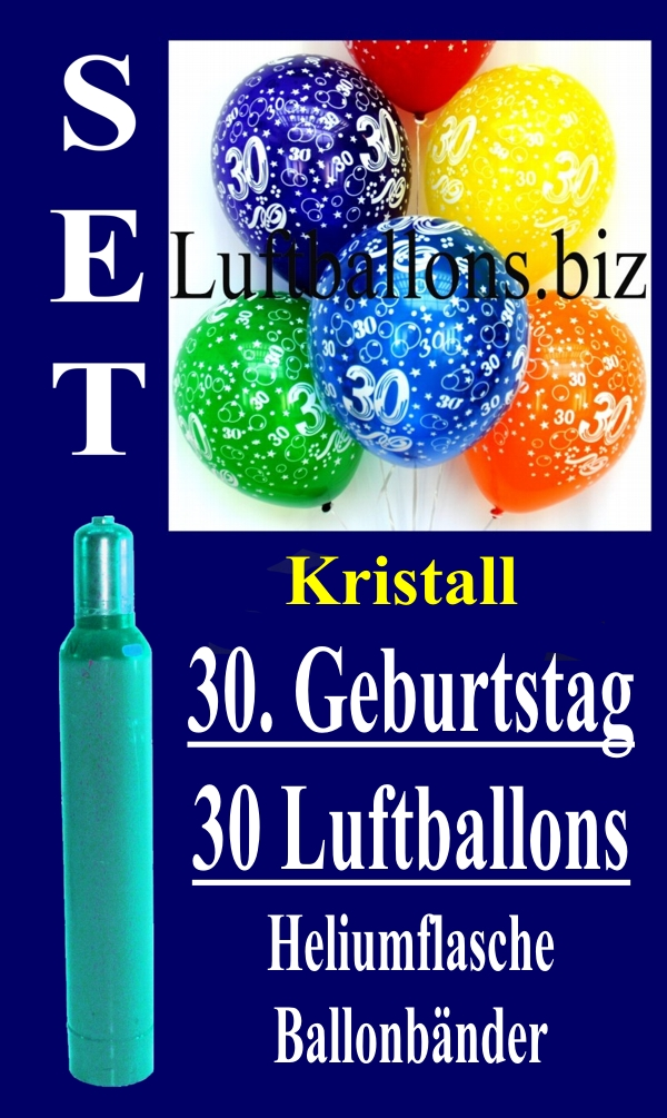 Luftballons Kristall Helium Set Zum 30 Geburtstag 30