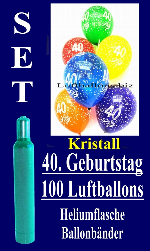 Luftballons Kristall Helium Set Zum 40 Geburtstag 100