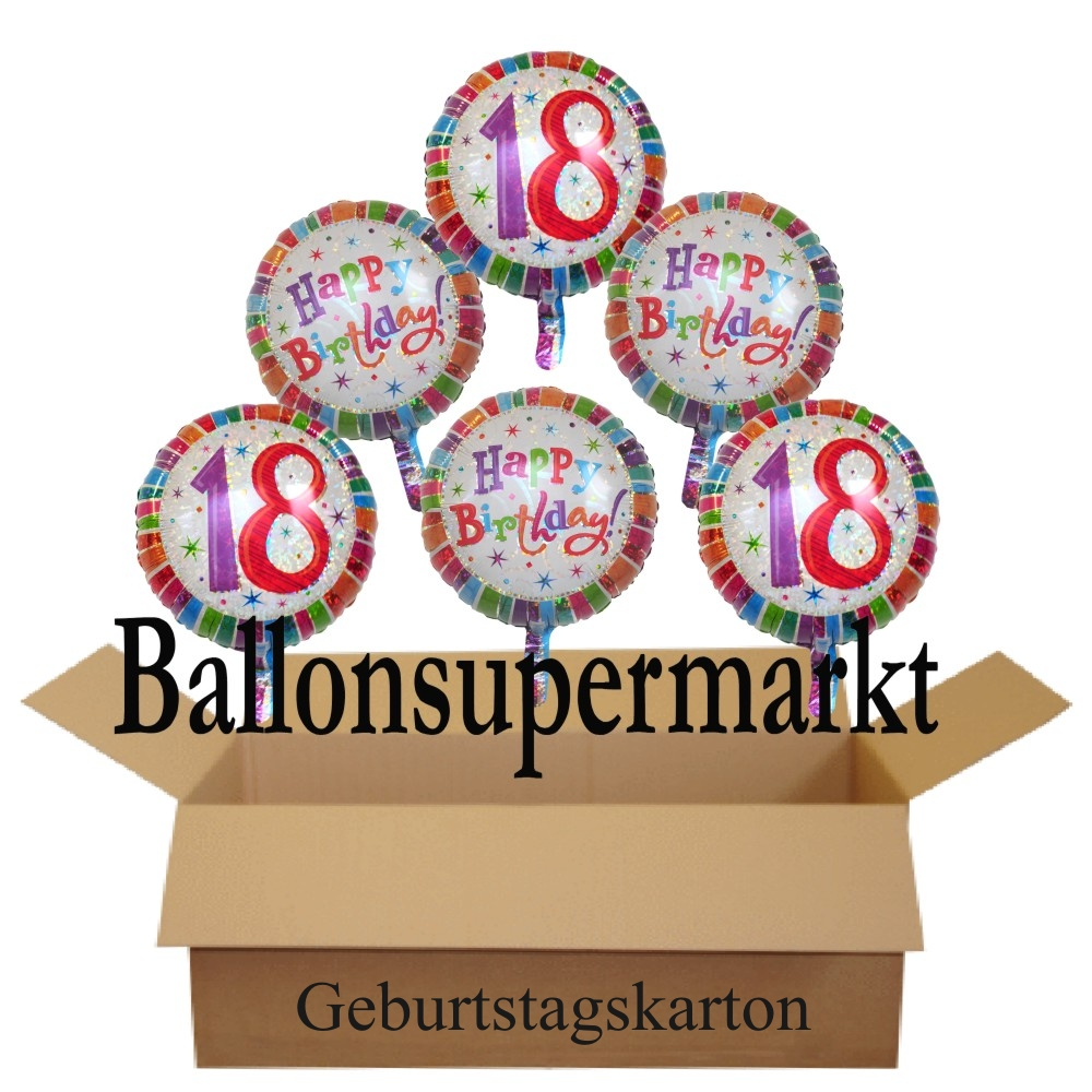 geburtstagsgeschenk luftballons mit helium im karton radiant birthday 18 geburtstag lu. Black Bedroom Furniture Sets. Home Design Ideas