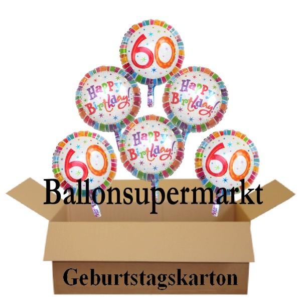 Geburtstagsgeschenk, Luftballons Mit Helium Im Karton, Radiant Birthday, 60.  Geburtstag