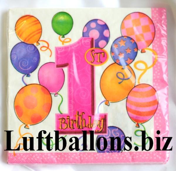Partydekoration Zum 1 Geburtstag Servietten Zahl 1 16 Stuck Lu