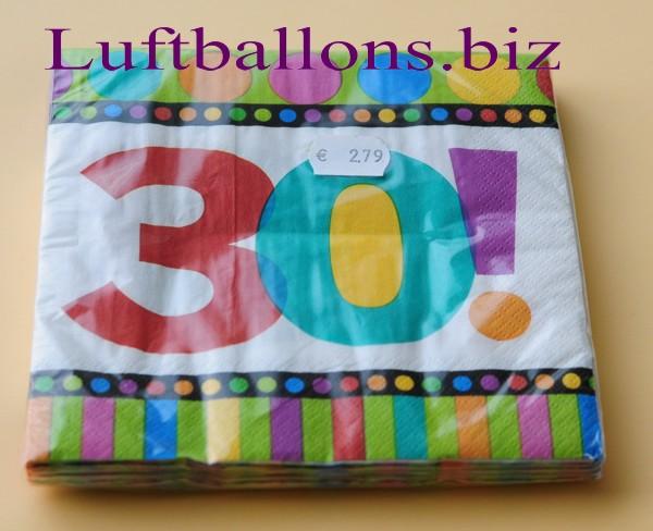 Servietten Zum 30. Geburtstag, Papierservietten, Tischdekoration, Happy  Birthday, Dots And Stripes