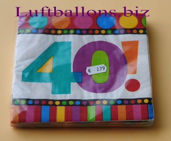 servietten zum 40 geburtstag papierservietten tischdekoration happy birthday dots and. Black Bedroom Furniture Sets. Home Design Ideas
