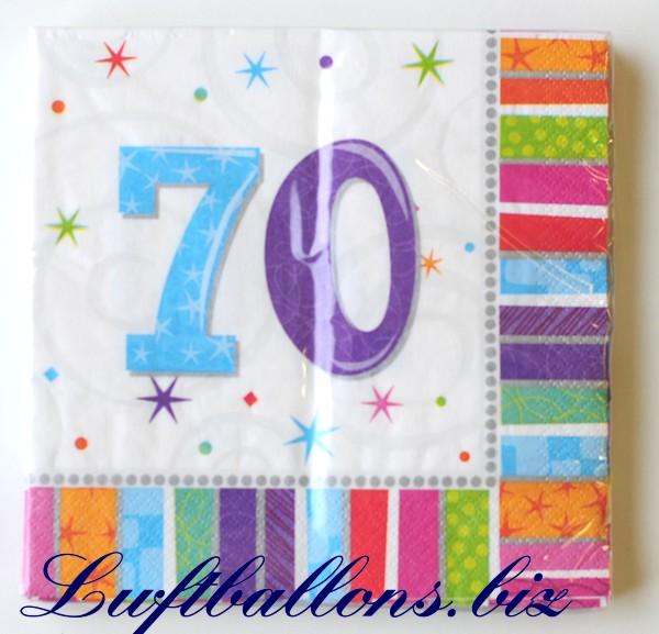 Servietten zum 70 geburtstag papierservietten tischdekoration happy birthday radiant lu - Dekoration zum 70 geburtstag ...