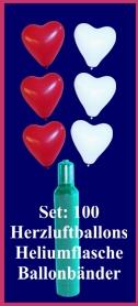 luftballons helium set hochzeit 100 rote und wei e herzluftballons mit ballongas lu helium. Black Bedroom Furniture Sets. Home Design Ideas