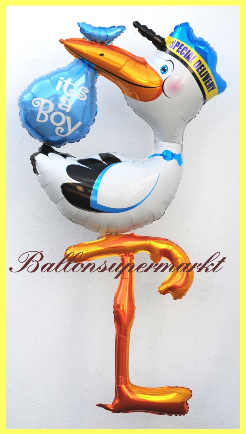 Klapperstorch zur geburt eines jungen deko luftballon aus folie mit helium lu luftballons deko - Luftballon deko ...