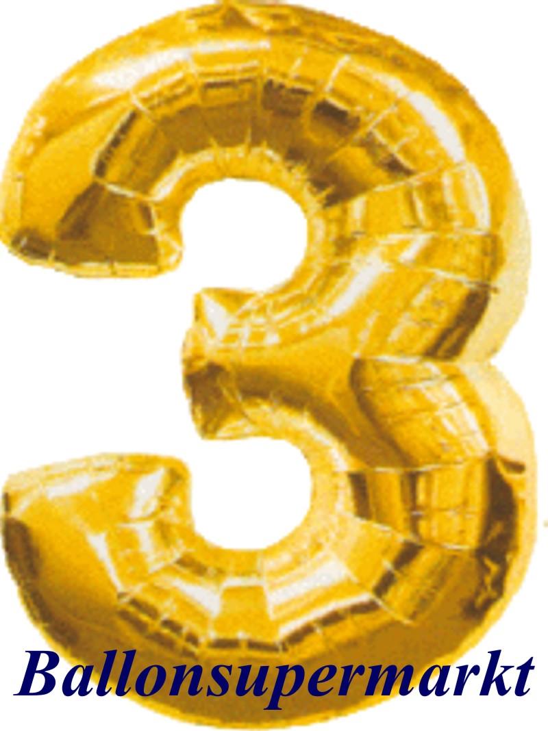 Decorative Balloon Gold Number 3 Lu Luftballon Zahl Geburtstag Baloon