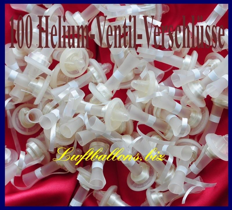 100 Stück Helium-Ventil-Verschlüsse mit Bändern für Luftballons