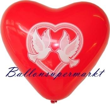 Roter Hochzeitstauben-Herzluftballon mit Helium-Ballongas
