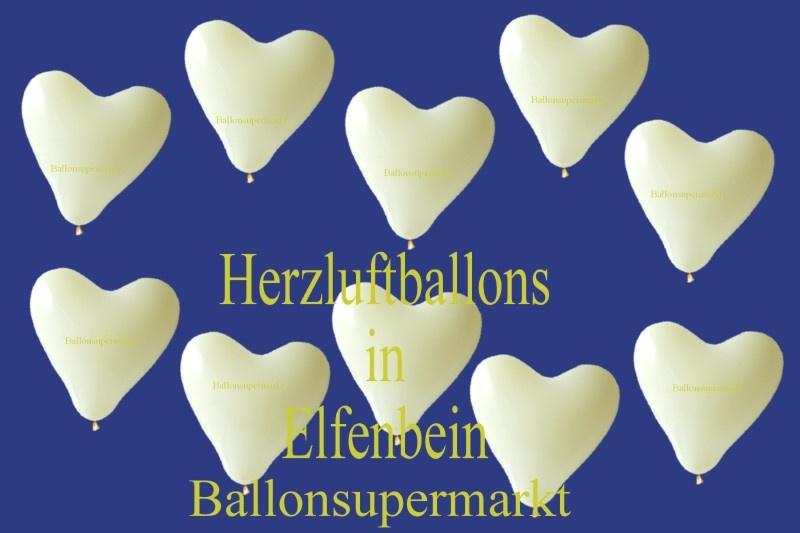 Herzluftballons Elfenbein mit Helium-Ballongas