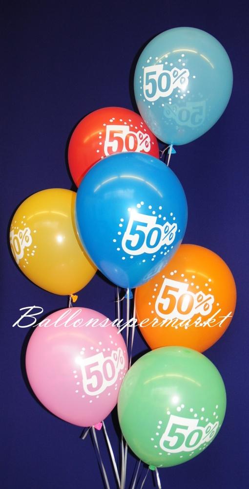 Luftballons zur Rabattaktion, 50 % Kundenrabatt