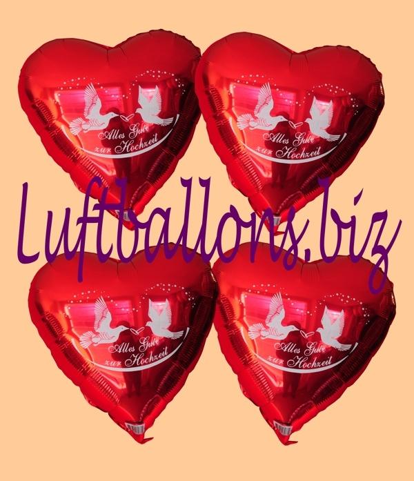 Alles Gute zur Hochzeit Herzluftballons aus Folie mit Ballongas Helium
