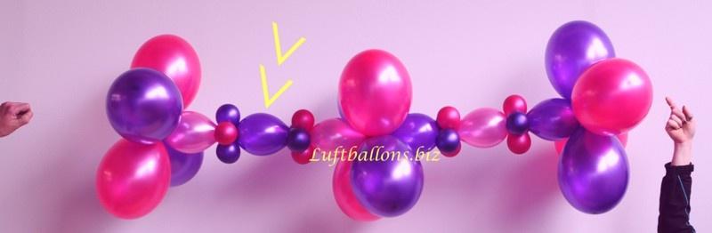 ballondekoration: girlande mit mini-girlanden-luftballons