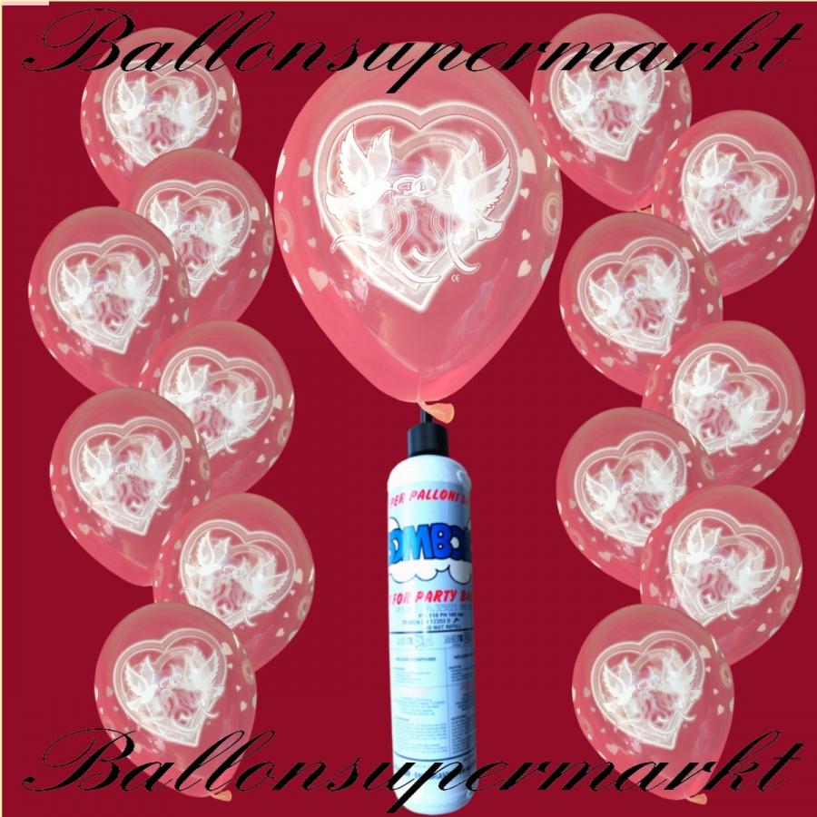 luftballons mit Hochzeitstauben und Heliumflasche
