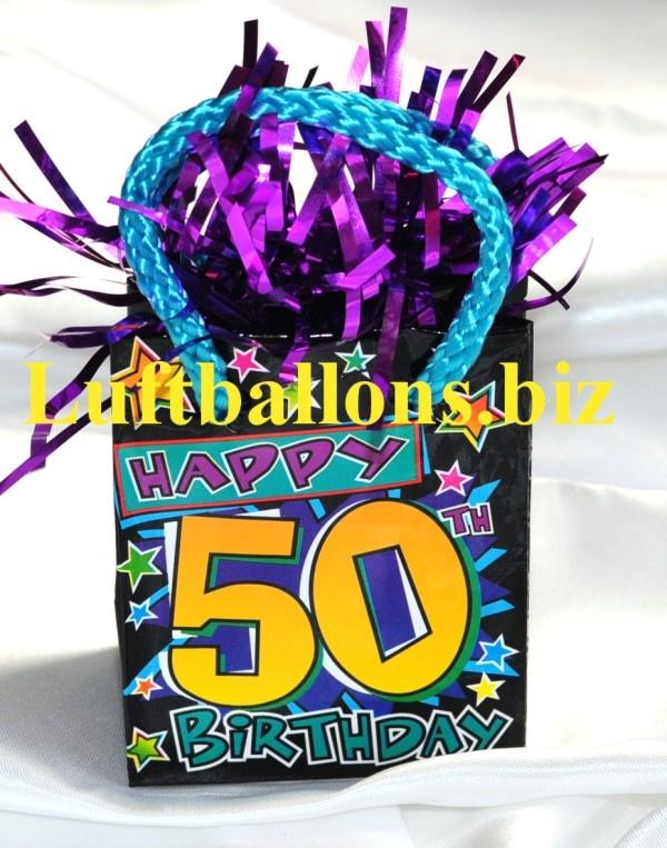 Ballongewicht Happy 50. Birthday, Beschwerer für Luftballons mit Helium zum 50. Geburtstag