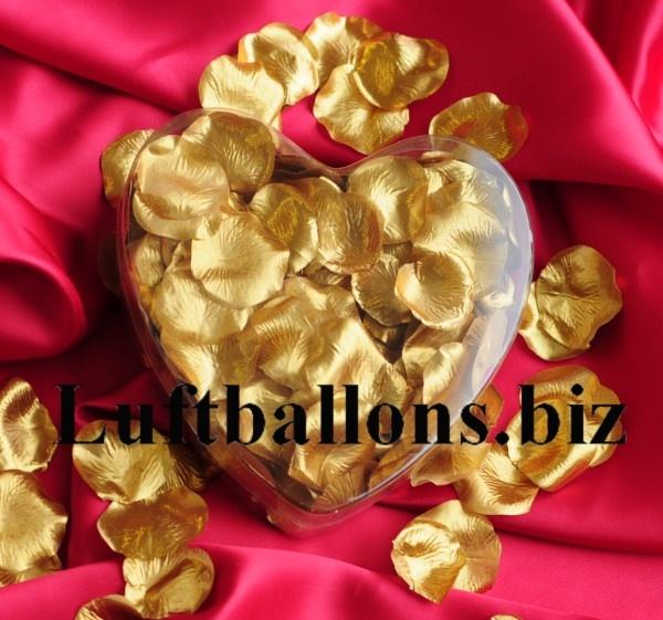 Rosenblätter in Gold, 200 Stück in dekorativer Herzbox