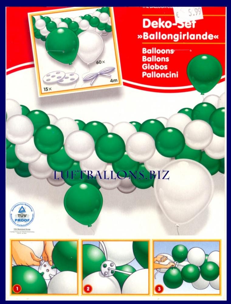 Pin tischdeko geburtstag in gr n und silber on pinterest - Luftballongirlande selber machen ...
