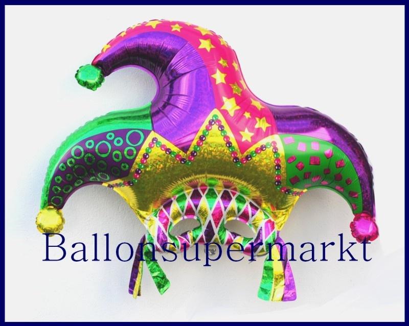 Deko-Luftballon aus Folie, Narrenkappe mit Maske zu Karneval und Fasching